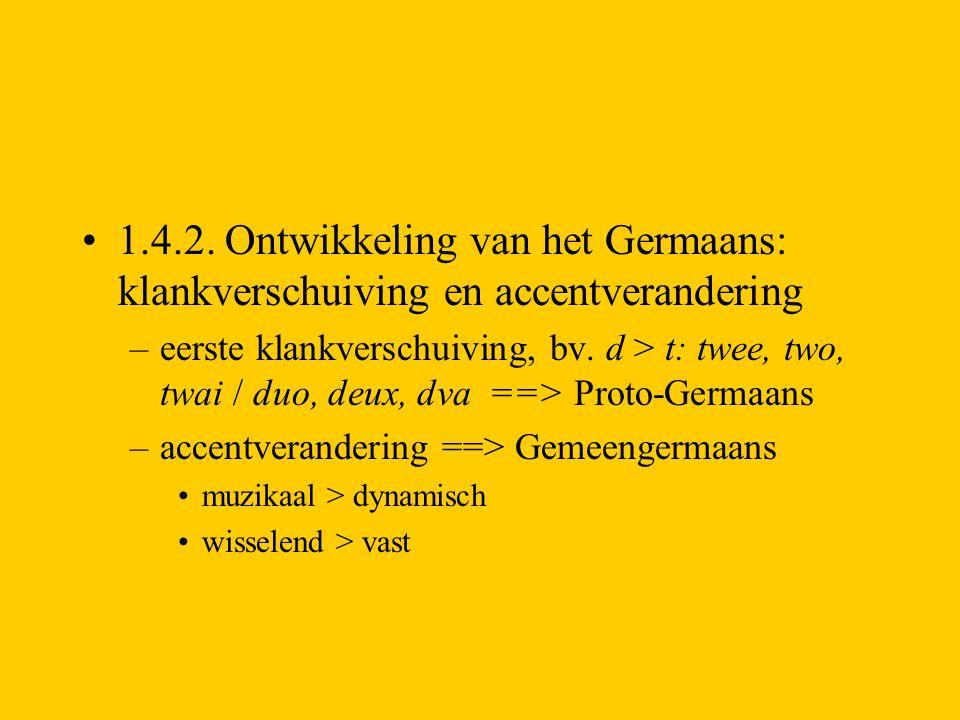 1.4.2. Ontwikkeling van het Germaans: klankverschuiving en accentverandering –eerste klankverschuiving, bv. d > t: twee, two, twai / duo, deux, dva ==