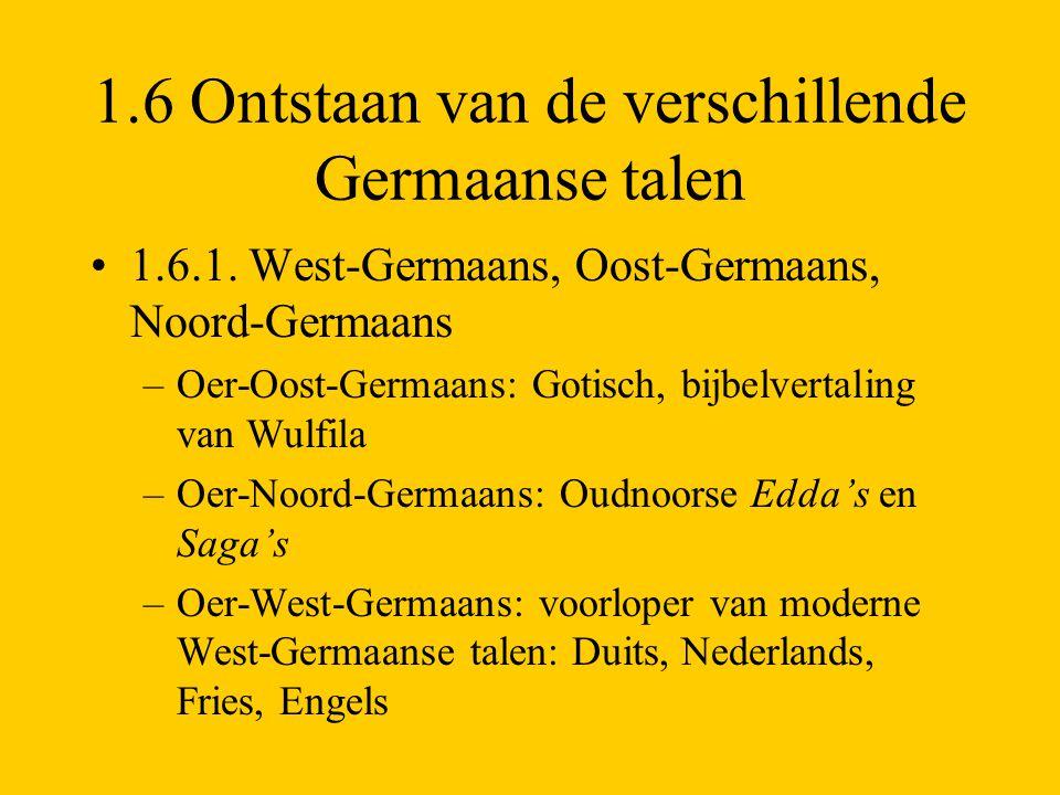 1.6 Ontstaan van de verschillende Germaanse talen 1.6.1. West-Germaans, Oost-Germaans, Noord-Germaans –Oer-Oost-Germaans: Gotisch, bijbelvertaling van