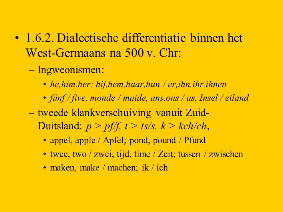 1.6.2. Dialectische differentiatie binnen het West-Germaans na 500 v. Chr: –Ingweonismen: he,him,her; hij,hem,haar,hun / er,ihn,ihr,ihnen fünf / five,