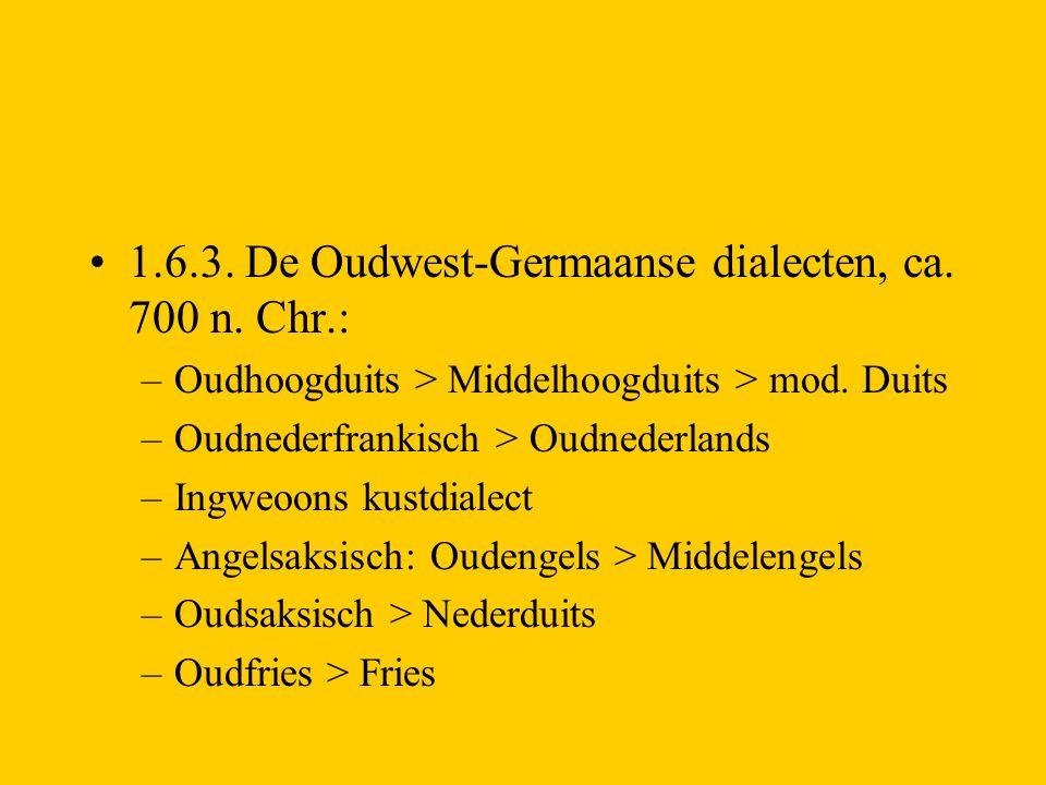 1.6.3. De Oudwest-Germaanse dialecten, ca. 700 n. Chr.: –Oudhoogduits > Middelhoogduits > mod. Duits –Oudnederfrankisch > Oudnederlands –Ingweoons kus