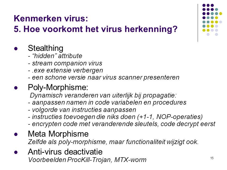 """15 Kenmerken virus: 5. Hoe voorkomt het virus herkenning? Stealthing - """"hidden"""" attribute - stream companion virus -.exe extensie verbergen - een scho"""