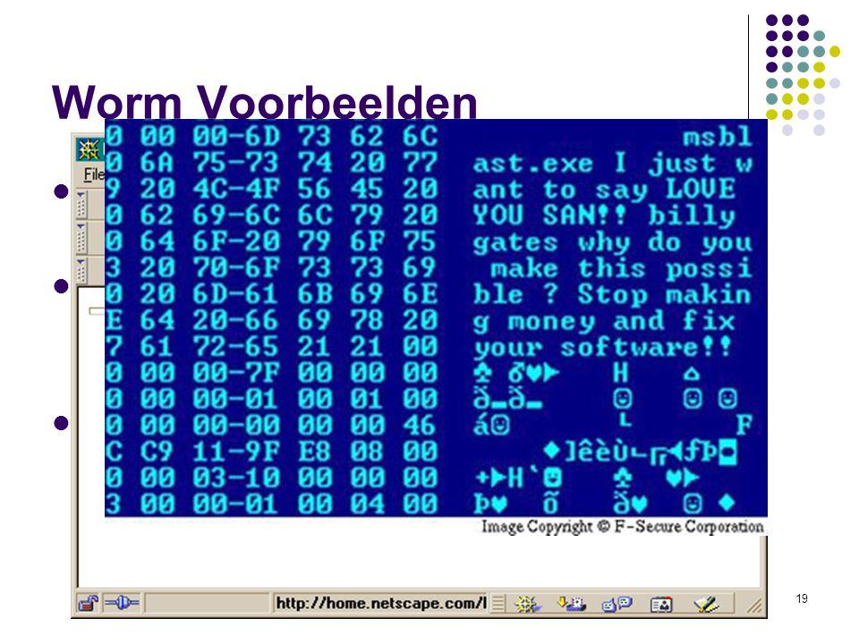 19 Worm Voorbeelden 1 st worm Morris (1989) Bekende wormen ILoveYou/Loveletter, Code Red, Sasser, Blaster, Nimda Recente worm: Storm Worm