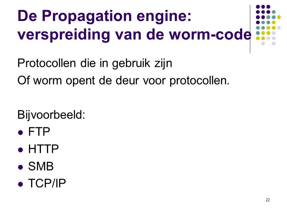 22 De Propagation engine: verspreiding van de worm-code Protocollen die in gebruik zijn Of worm opent de deur voor protocollen. Bijvoorbeeld: FTP HTTP
