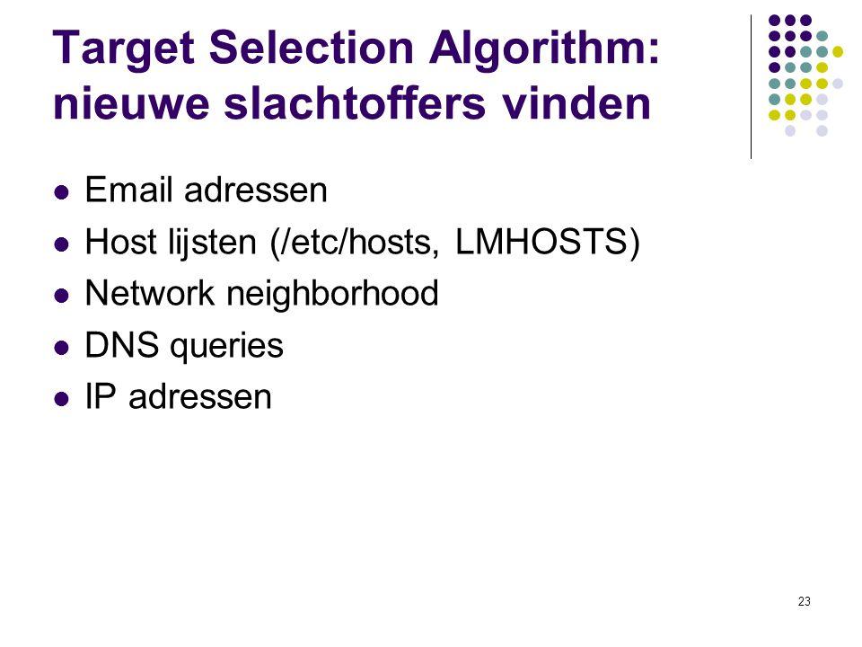 23 Target Selection Algorithm: nieuwe slachtoffers vinden Email adressen Host lijsten (/etc/hosts, LMHOSTS) Network neighborhood DNS queries IP adressen