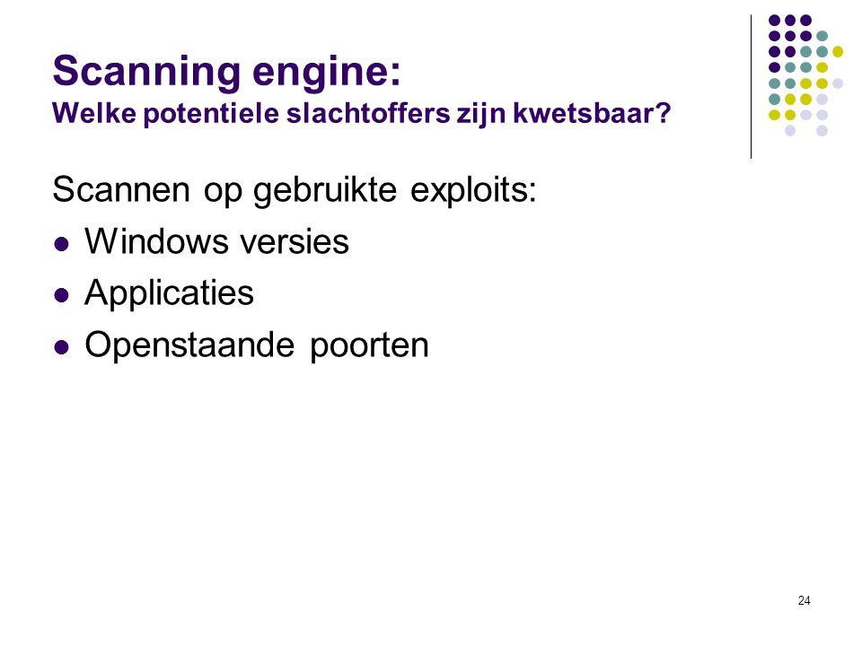 24 Scanning engine: Welke potentiele slachtoffers zijn kwetsbaar.