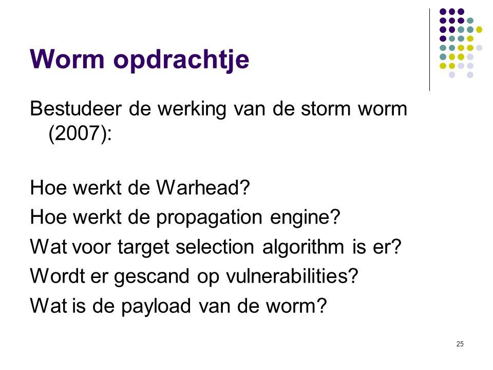 25 Worm opdrachtje Bestudeer de werking van de storm worm (2007): Hoe werkt de Warhead? Hoe werkt de propagation engine? Wat voor target selection alg