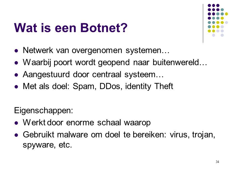 34 Wat is een Botnet? Netwerk van overgenomen systemen… Waarbij poort wordt geopend naar buitenwereld… Aangestuurd door centraal systeem… Met als doel