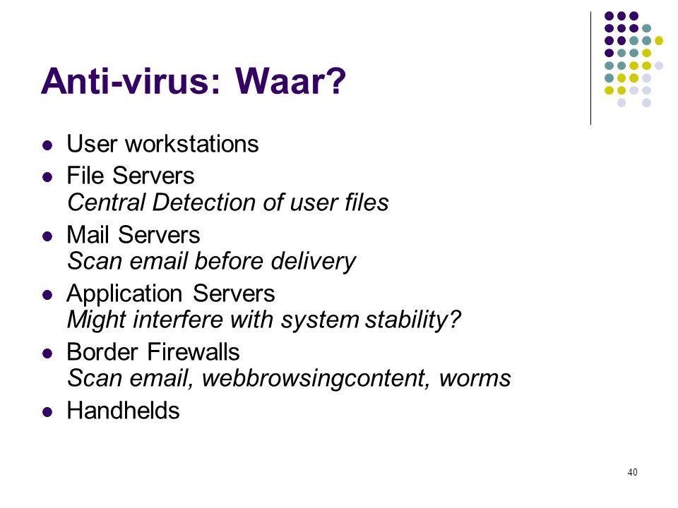 40 Anti-virus: Waar.