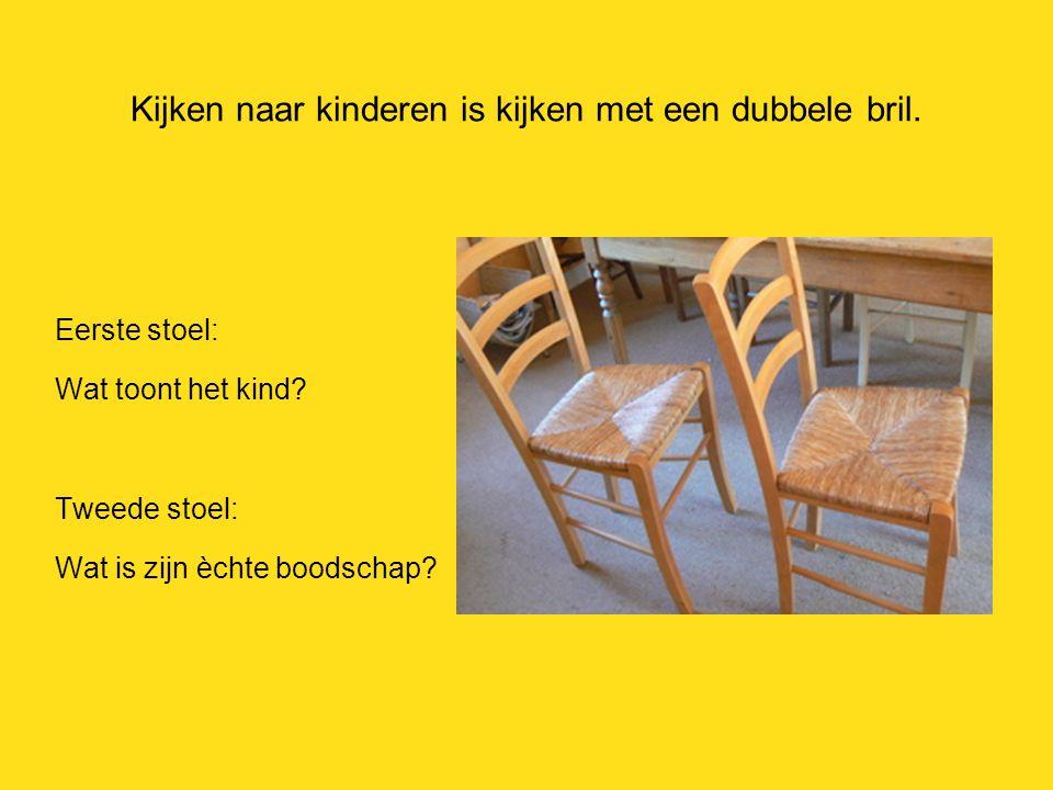 Kijken naar kinderen is kijken met een dubbele bril. Eerste stoel: Wat toont het kind? Tweede stoel: Wat is zijn èchte boodschap?