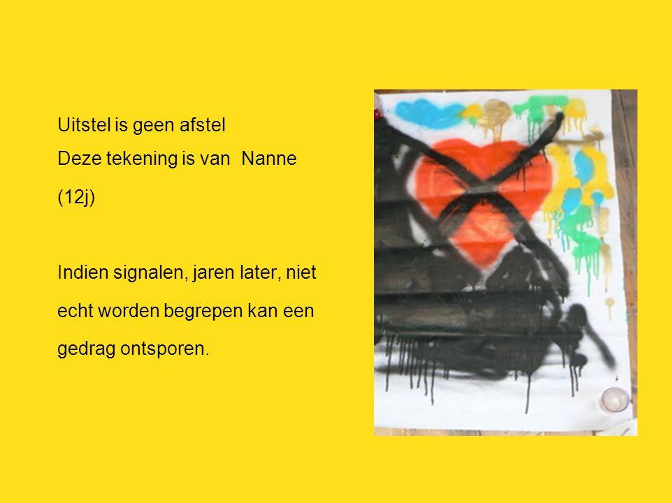 Uitstel is geen afstel Deze tekening is van Nanne (12j) Indien signalen, jaren later, niet echt worden begrepen kan een gedrag ontsporen.