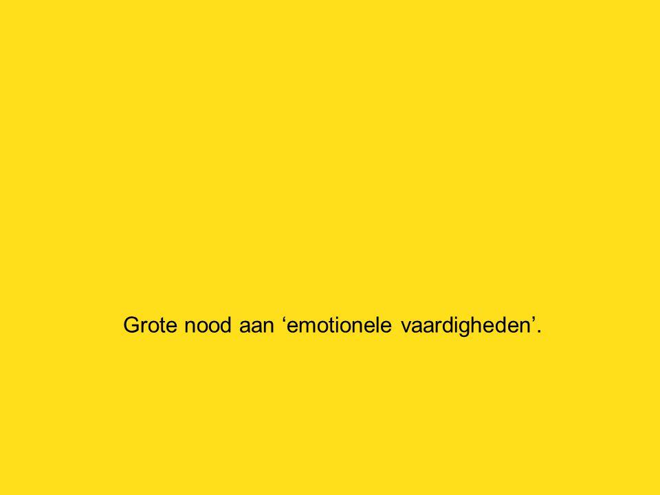 Grote nood aan 'emotionele vaardigheden'.