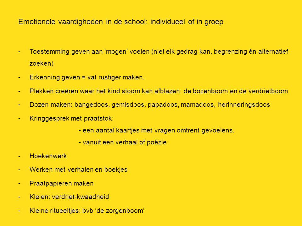 Emotionele vaardigheden in de school: individueel of in groep -Toestemming geven aan 'mogen' voelen (niet elk gedrag kan, begrenzing èn alternatief zo