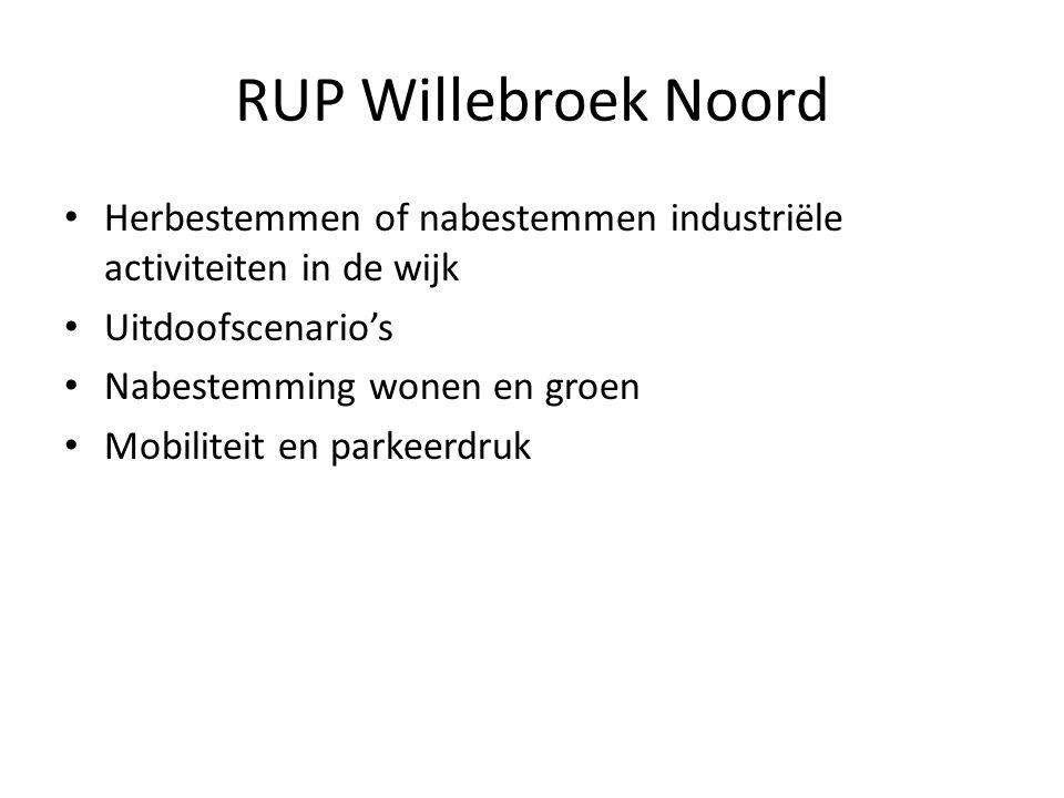 RUP Willebroek Noord Herbestemmen of nabestemmen industriële activiteiten in de wijk Uitdoofscenario's Nabestemming wonen en groen Mobiliteit en parkeerdruk