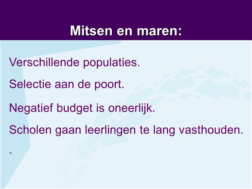 Mitsen en maren: Verschillende populaties. Selectie aan de poort.