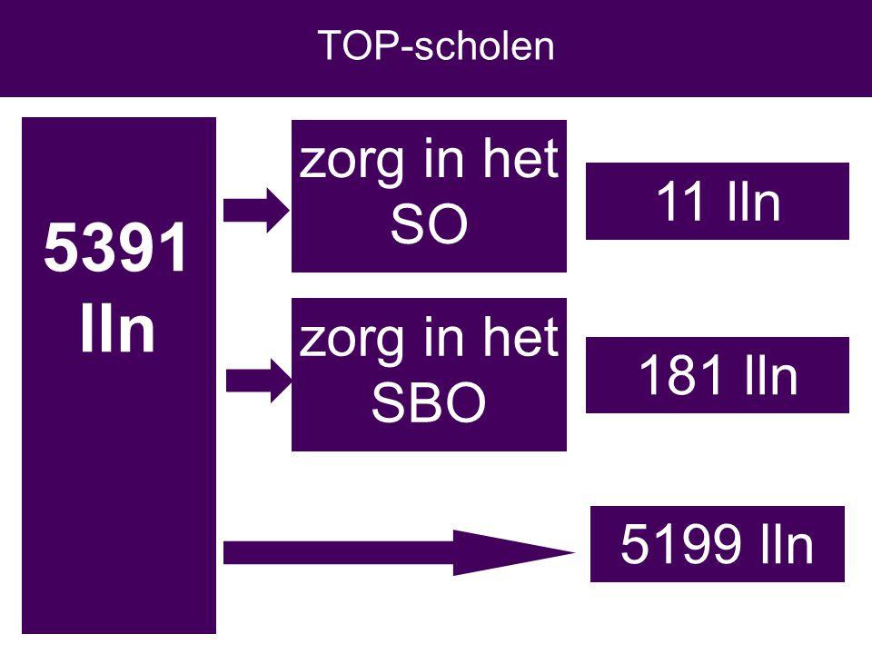 5391 lln 11 lln zorg in het SO zorg in het SBO 181 lln TOP-scholen 5199 lln
