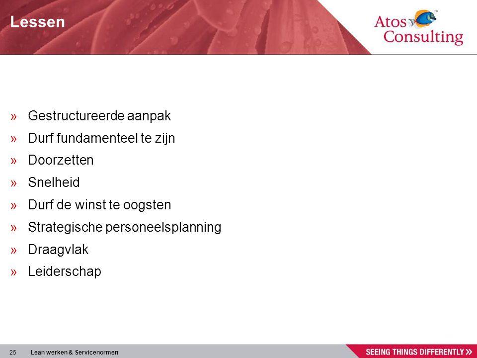 25 Lean werken & Servicenormen Lessen »Gestructureerde aanpak »Durf fundamenteel te zijn »Doorzetten »Snelheid »Durf de winst te oogsten »Strategische