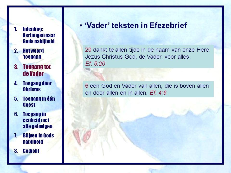 'Vader' teksten in Efezebrief 20 dankt te allen tijde in de naam van onze Here Jezus Christus God, de Vader, voor alles, Ef. 5:20 1.Inleiding: Verlang