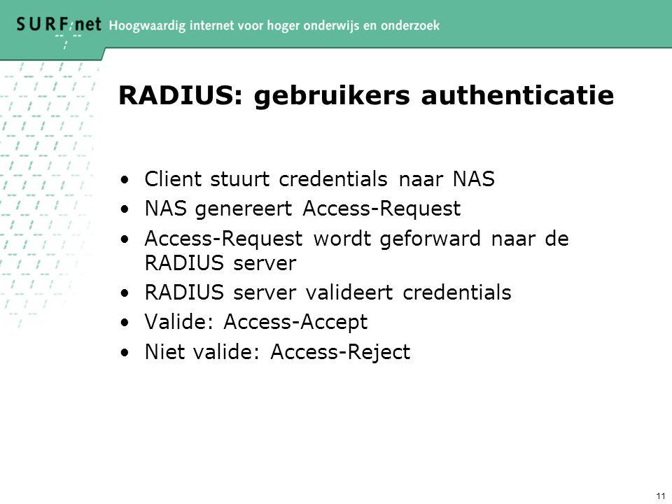 10 Radius: security model RADIUS peers (NAS naar server, server naar server) vormen een trust relatie d.m.v. een shared secret Het secret wordt gebrui