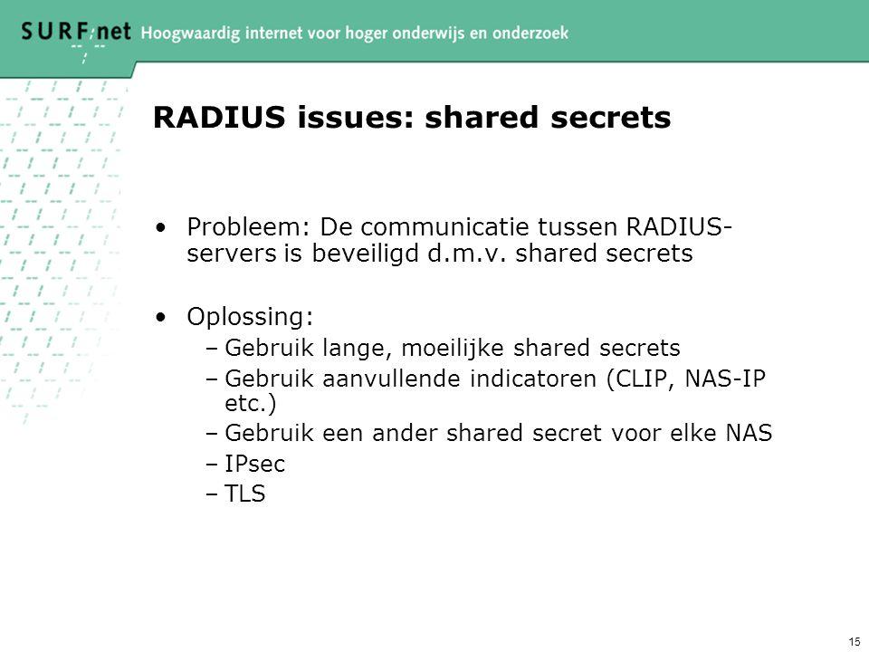 14 FCCN RADIUS Proxy servers connecting to a European level RADIUS proxy server University of Southampton SURFnet FUNET DFN CARnet Radius proxy hierar