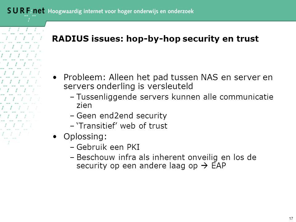 16 RADIUS issues: proxy loops Probleem: –De toplevel RADIUS-server stuurt user@kantoor.surfnet.nl naar radius.surfnet.nl op basis van een regel voor *