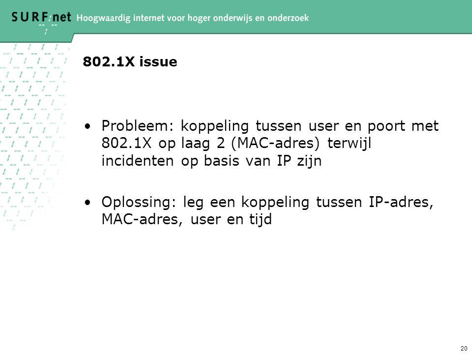 19 Getunnelde authenticatie (TTLS/PEAP) Gebruikt TLS tunnel om data te protecten –De TLS tunnel wordt opgezet m.b.v. het server certificaat, hierdoor