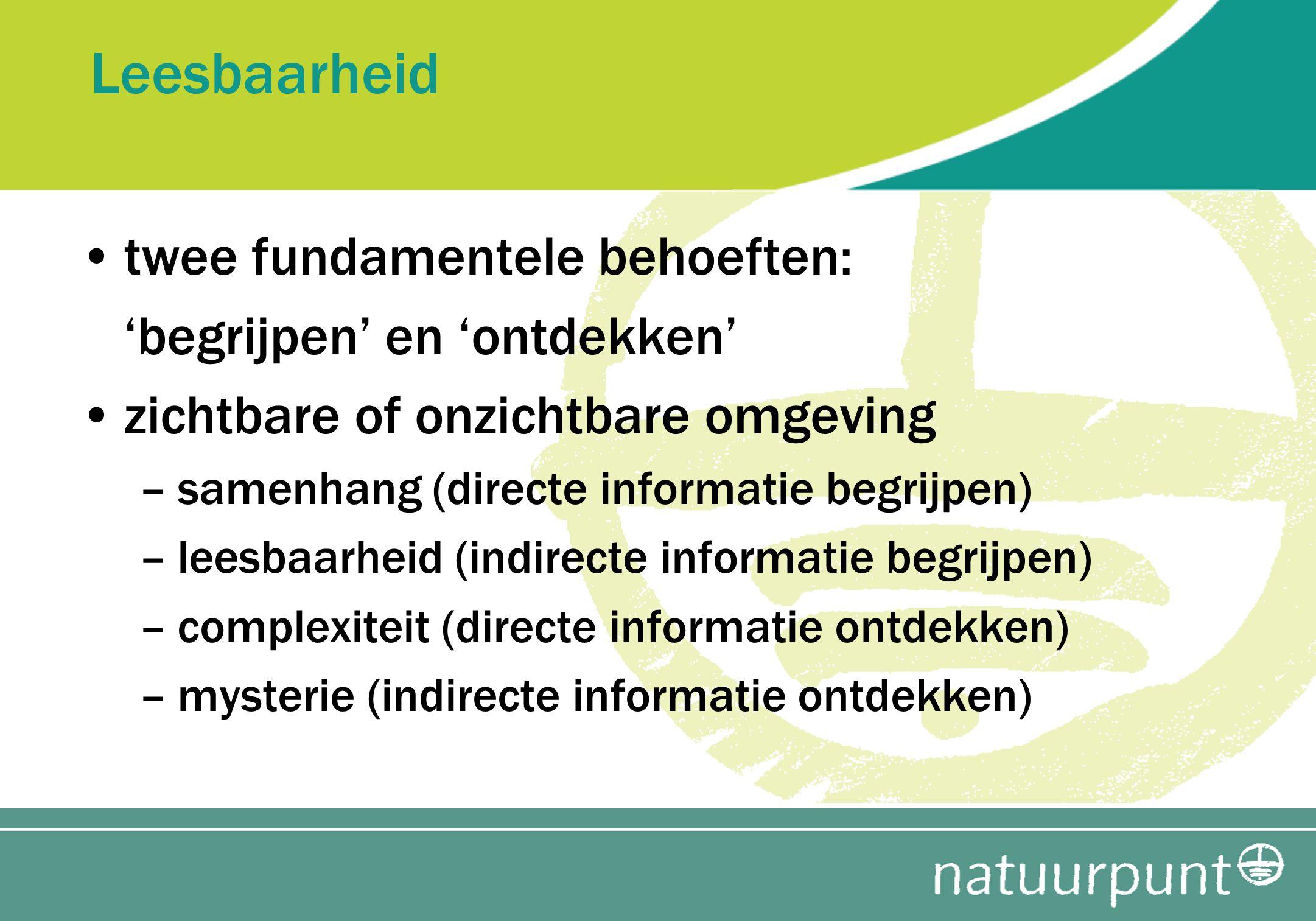 Leesbaarheid twee fundamentele behoeften: 'begrijpen' en 'ontdekken' zichtbare of onzichtbare omgeving –samenhang (directe informatie begrijpen) –lees