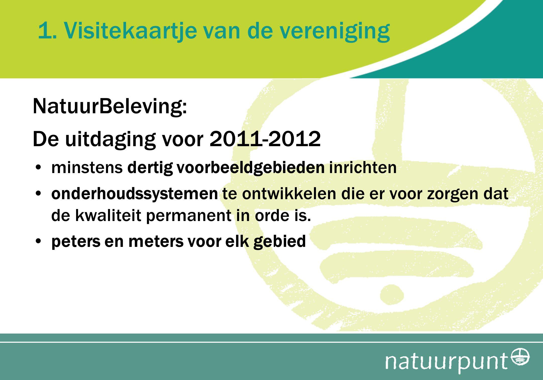1. Visitekaartje van de vereniging NatuurBeleving: De uitdaging voor 2011-2012 minstens dertig voorbeeldgebieden inrichten onderhoudssystemen te ontwi