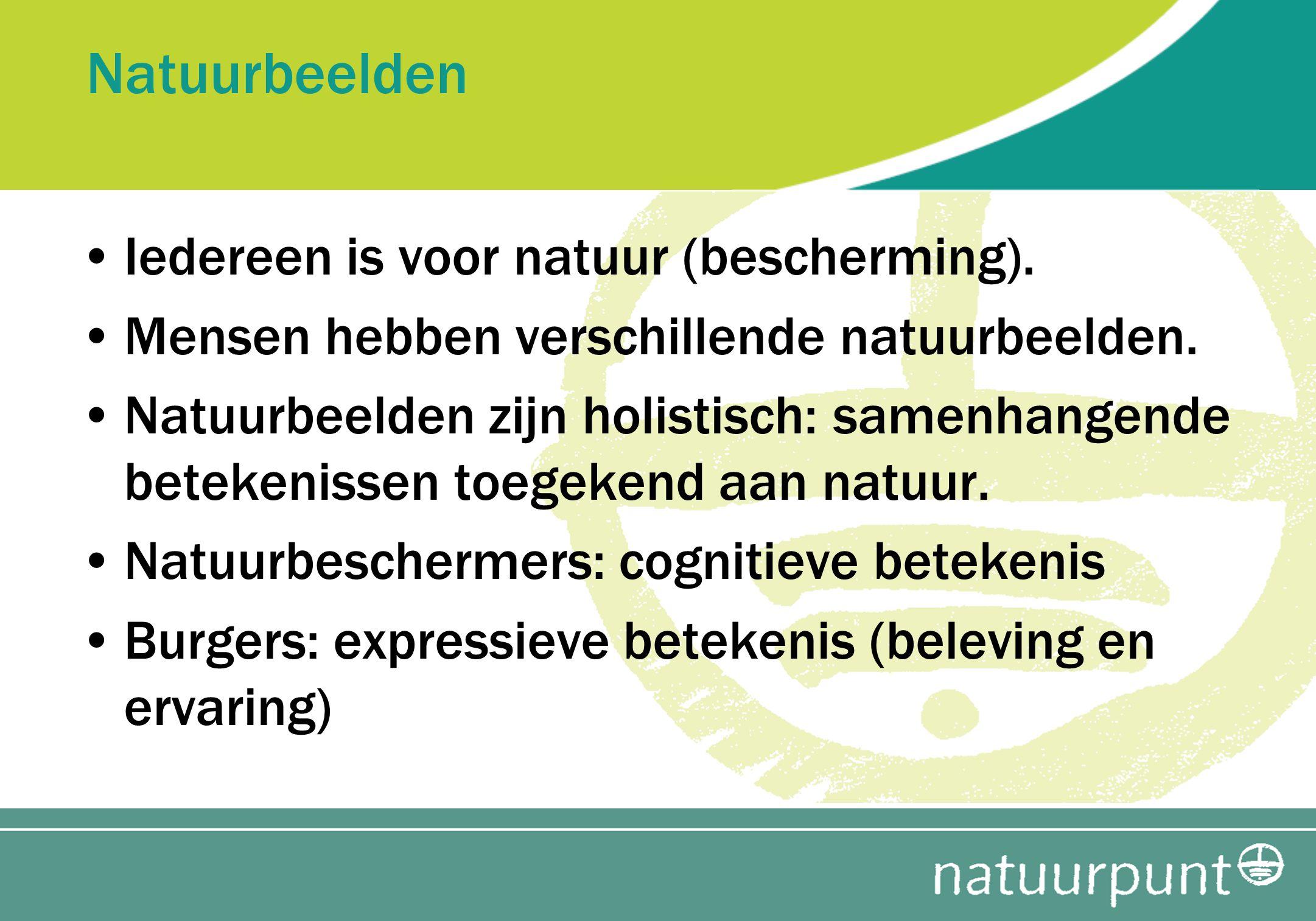 Natuurbeelden Iedereen is voor natuur (bescherming). Mensen hebben verschillende natuurbeelden. Natuurbeelden zijn holistisch: samenhangende betekenis