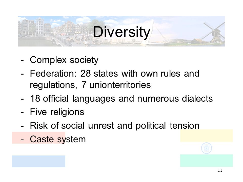11 Diversity -Complex society -Federation: 28 states with own rules and regulations, 7 unionterritories -18 official languages and numerous dialects -