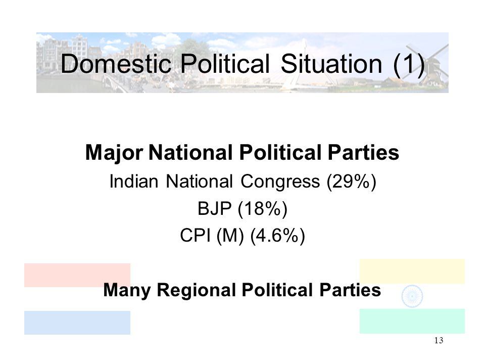 13 Domestic Political Situation (1) Major National Political Parties Indian National Congress (29%) BJP (18%) CPI (M) (4.6%) Many Regional Political P