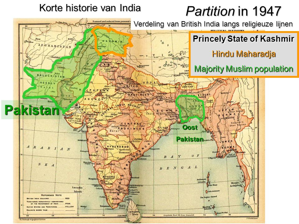 Princely State of Kashmir Hindu Maharadja Majority Muslim population Korte historie van India Partition in 1947 Verdeling van British India langs reli