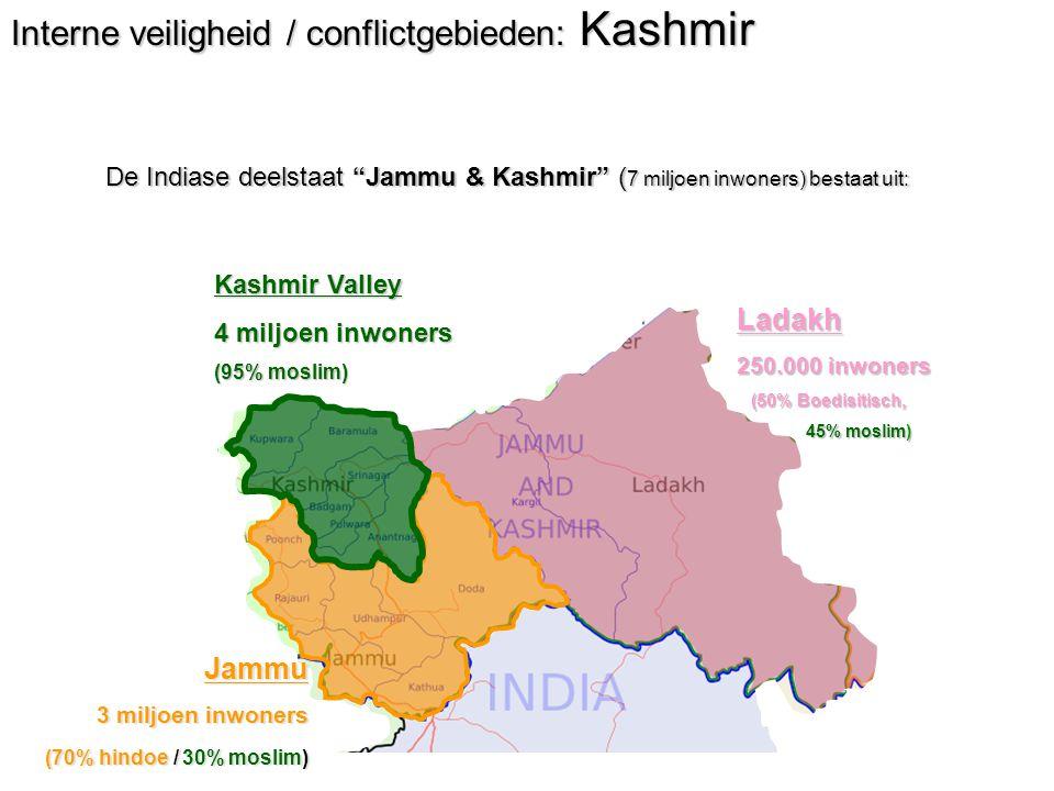 Interne veiligheid / conflictgebieden: Kashmir De Indiase deelstaat Jammu & Kashmir ( 7 miljoen inwoners) bestaat uit: Kashmir Valley 4 miljoen inwoners (95% moslim) Ladakh 250.000 inwoners (50% Boedisitisch, (50% Boedisitisch, 45% moslim) 45% moslim) Jammu 3 miljoen inwoners (70% hindoe / 30% moslim)