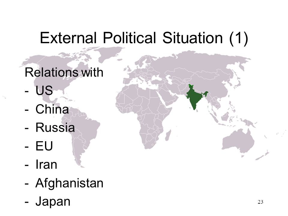 External Political Situation (1) Relations with -US -China -Russia -EU -Iran -Afghanistan -Japan 23