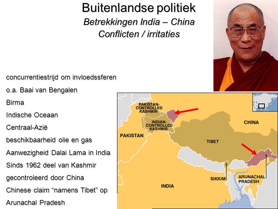 31 Buitenlandse politiek Betrekkingen India – China Conflicten / irritaties concurrentiestrijd om invloedssferen o.a.