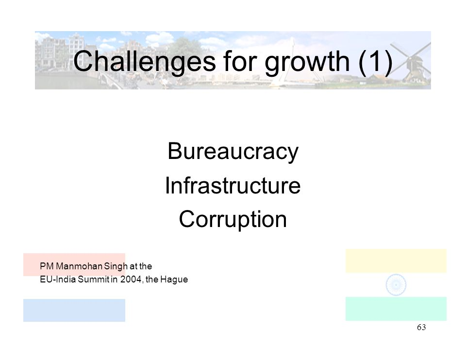 63 Challenges for growth (1) Bureaucracy Infrastructure Corruption PM Manmohan Singh at the EU-India Summit in 2004, the Hague