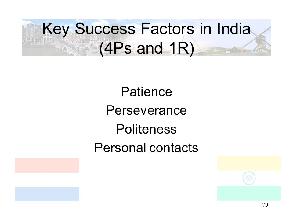 70 Key Success Factors in India (4Ps and 1R) Patience Perseverance Politeness Personal contacts