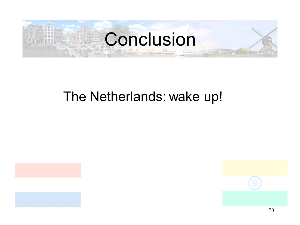 73 Conclusion The Netherlands: wake up!