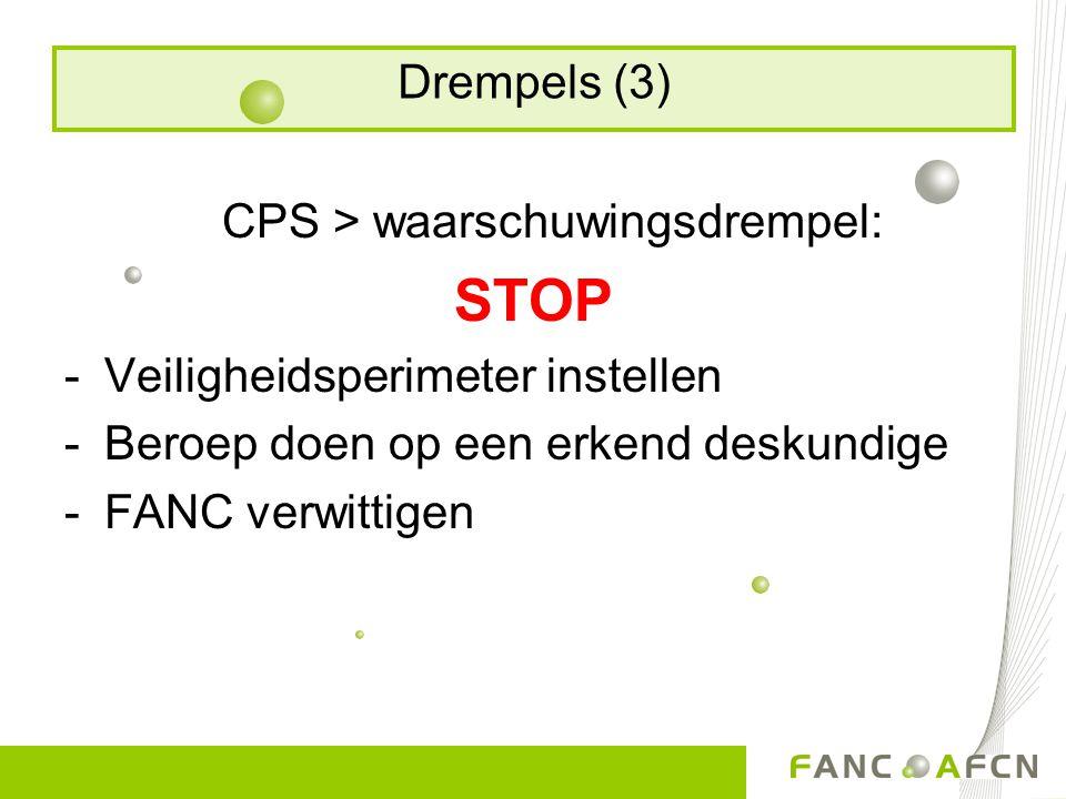 CPS > waarschuwingsdrempel: STOP -Veiligheidsperimeter instellen -Beroep doen op een erkend deskundige -FANC verwittigen Drempels (3)