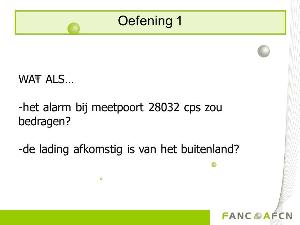 Oefening 1 WAT ALS… -het alarm bij meetpoort 28032 cps zou bedragen? -de lading afkomstig is van het buitenland?