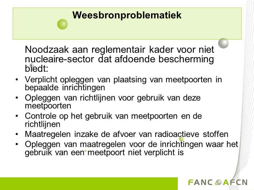 Weesbronproblematiek Noodzaak aan reglementair kader voor niet nucleaire-sector dat afdoende bescherming biedt: Verplicht opleggen van plaatsing van m