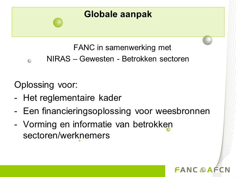 Globale aanpak FANC in samenwerking met NIRAS – Gewesten - Betrokken sectoren Oplossing voor: -Het reglementaire kader -Een financieringsoplossing voo