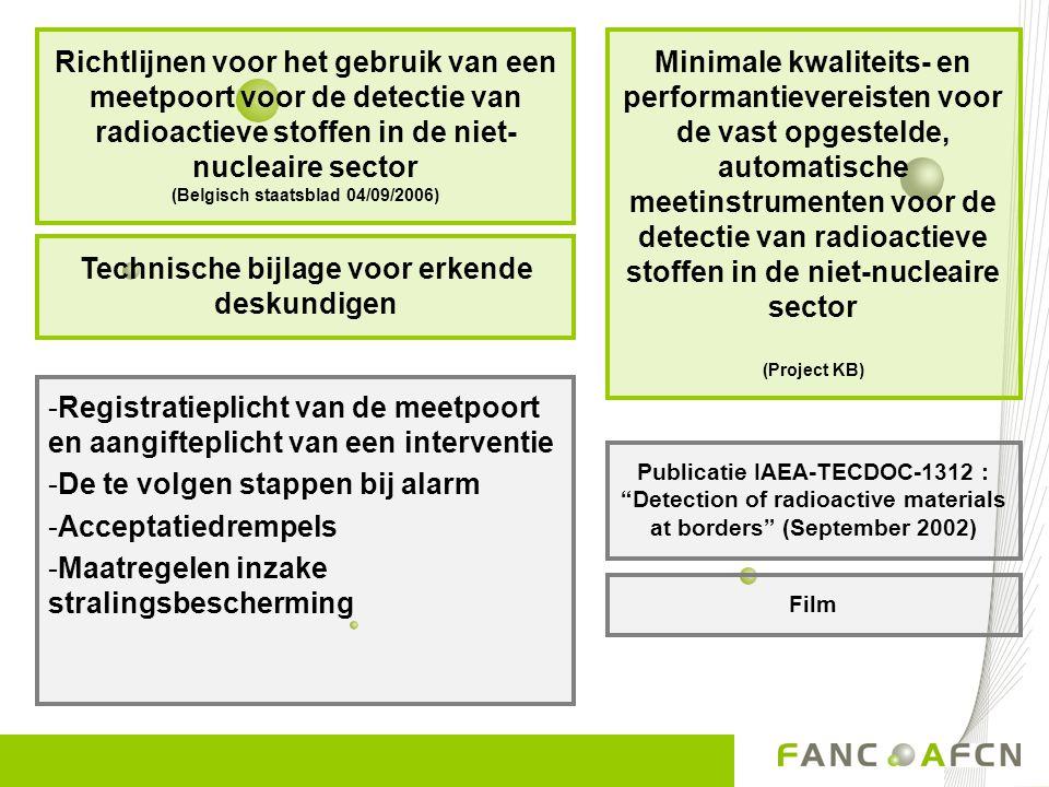 -Registratieplicht van de meetpoort en aangifteplicht van een interventie -De te volgen stappen bij alarm -Acceptatiedrempels -Maatregelen inzake stra