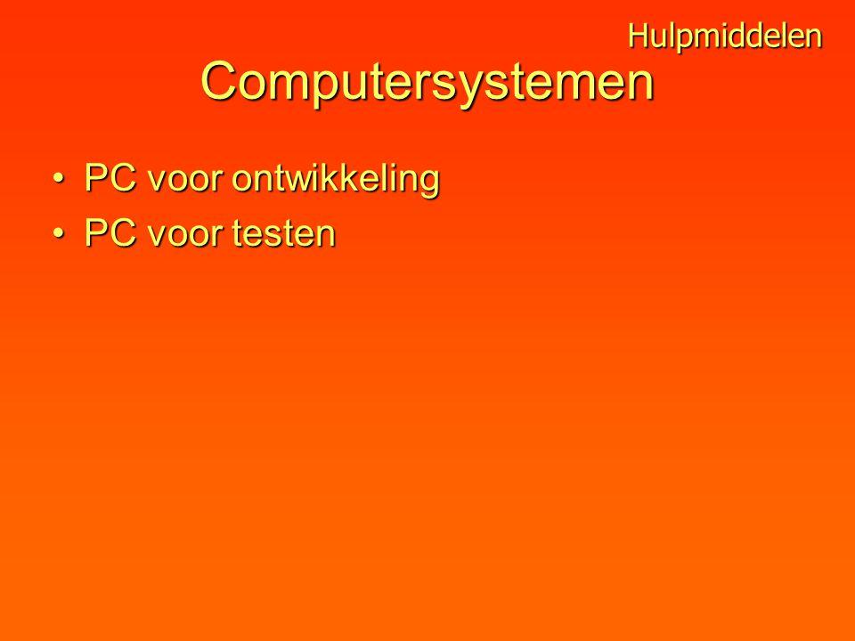 Computersystemen PC voor ontwikkelingPC voor ontwikkeling PC voor testenPC voor testen Hulpmiddelen