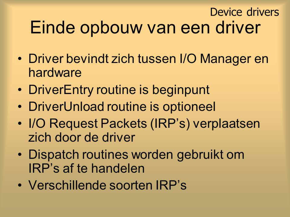 Einde opbouw van een driver Driver bevindt zich tussen I/O Manager en hardware DriverEntry routine is beginpunt DriverUnload routine is optioneel I/O Request Packets (IRP's) verplaatsen zich door de driver Dispatch routines worden gebruikt om IRP's af te handelen Verschillende soorten IRP's Device drivers
