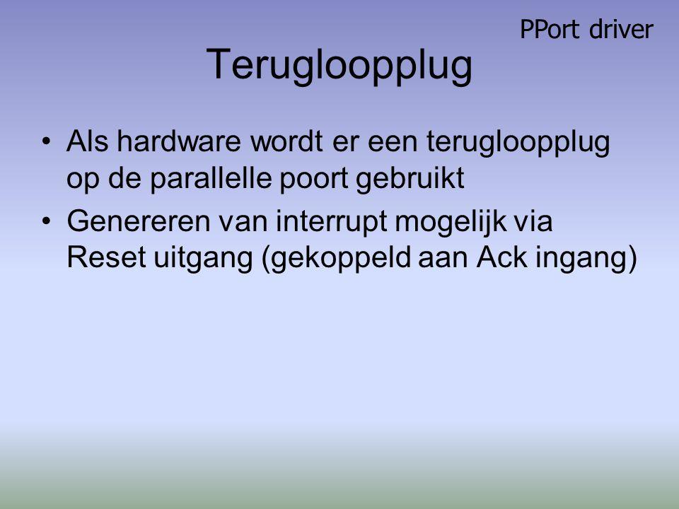 Terugloopplug Als hardware wordt er een terugloopplug op de parallelle poort gebruikt Genereren van interrupt mogelijk via Reset uitgang (gekoppeld aan Ack ingang) PPort driver