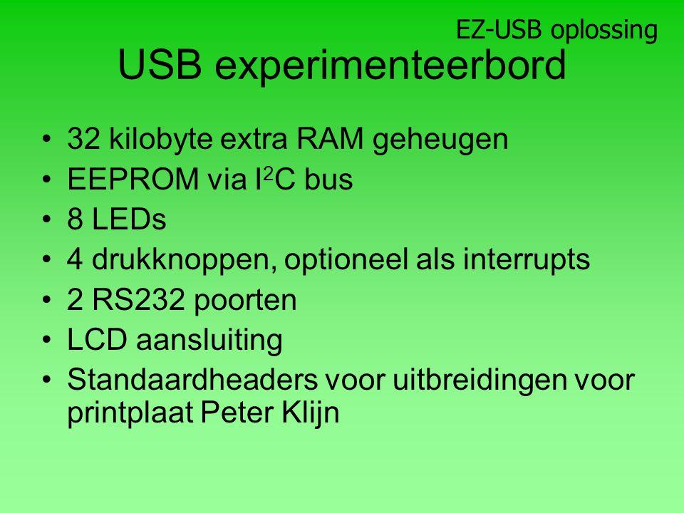 USB experimenteerbord 32 kilobyte extra RAM geheugen EEPROM via I 2 C bus 8 LEDs 4 drukknoppen, optioneel als interrupts 2 RS232 poorten LCD aansluiting Standaardheaders voor uitbreidingen voor printplaat Peter Klijn EZ-USB oplossing