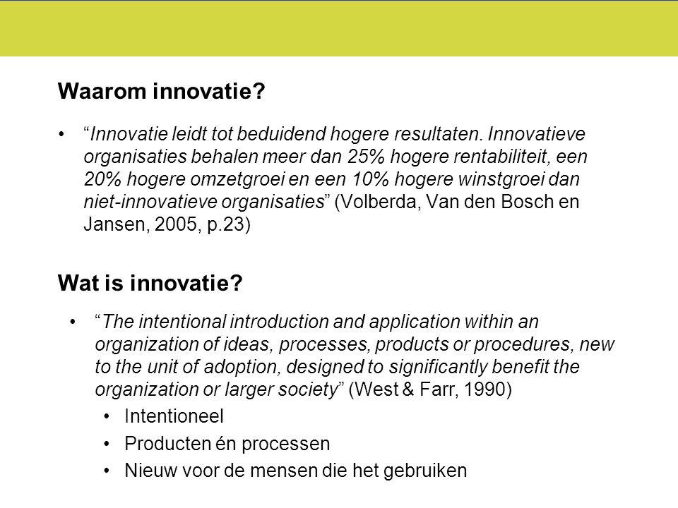 """""""Innovatie leidt tot beduidend hogere resultaten. Innovatieve organisaties behalen meer dan 25% hogere rentabiliteit, een 20% hogere omzetgroei en een"""