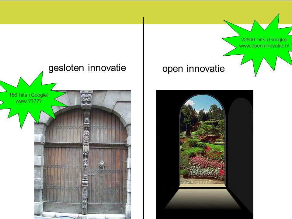 gesloten innovatie open innovatie 156 hits (Google) www.????? 22800 hits (Google) www.openinnovatie.nl