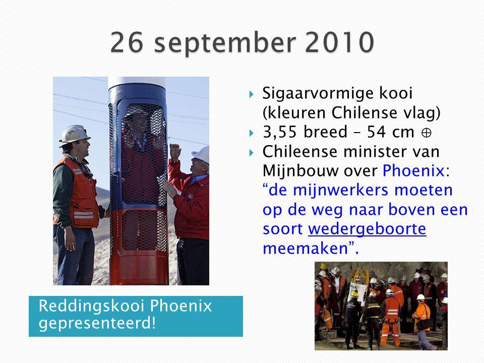 Reddingskooi Phoenix gepresenteerd!  Sigaarvormige kooi (kleuren Chilense vlag)  3,55 breed – 54 cm ⊕  Chileense minister van Mijnbouw over Phoenix