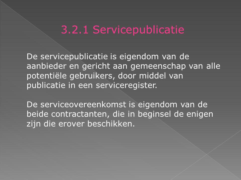 3.2.1 Servicepublicatie De servicepublicatie is eigendom van de aanbieder en gericht aan gemeenschap van alle potentiële gebruikers, door middel van publicatie in een serviceregister.